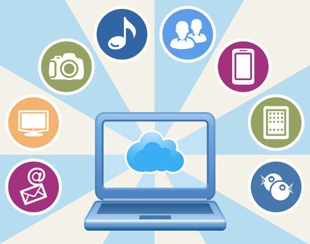 mobile computing: Cloud, computing, service illustration. Illustration