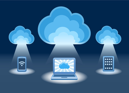 Cloud services design concept. Electronic devices connected to the cloud. Illustration