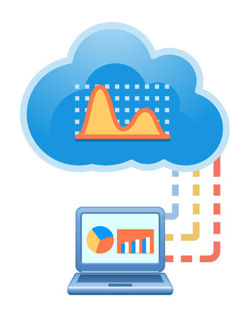 Cloud, computing, electronic, financial analysis, service illustration. Vector