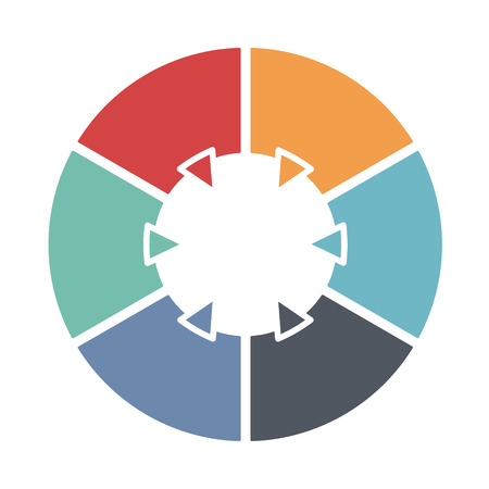 six: Ring diagram consists of six colored sections. Template infographics.