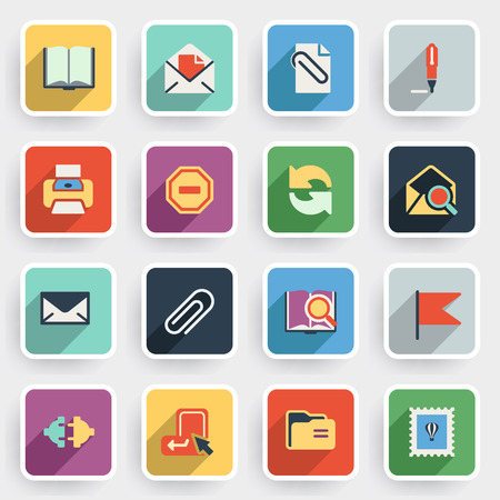 computer icons: Email modern flat icons with color buttons on gray background.