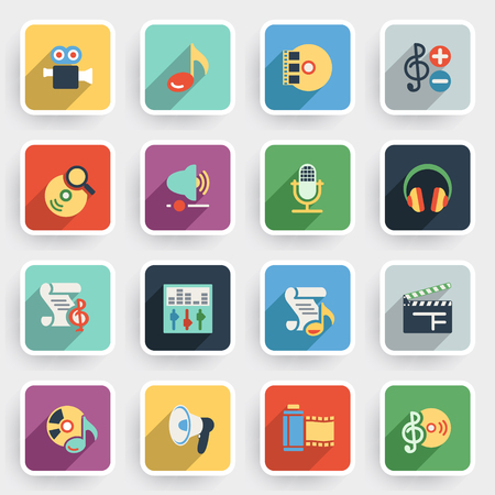 audio video: Audio video modern flat icons with color buttons on gray background. Illustration