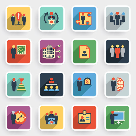 corporate hierarchy: Business and management modern flat icons with color buttons on gray background. Illustration