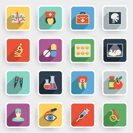 eye pipette: Medicine modern flat icons with color buttons on gray background. Illustration