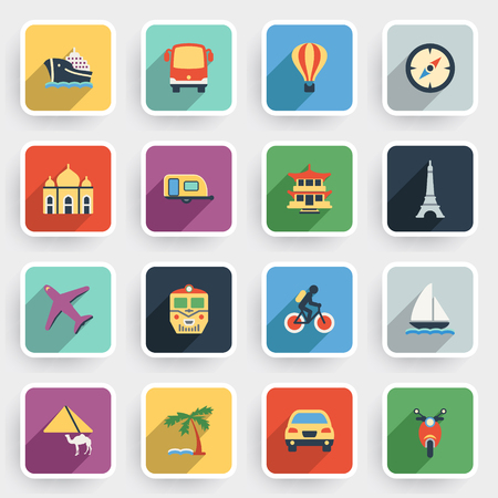 air liner: Travel modern flat icons with color buttons on gray background.