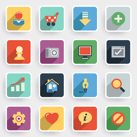 hard to find: Basic modern flat icons with color buttons on gray background. Illustration