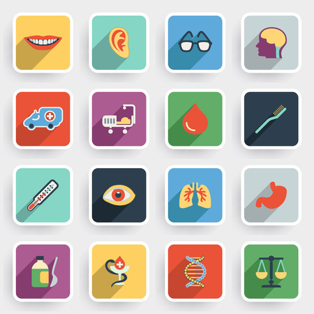snake eyes: Medicine modern flat icons with color buttons on gray background. Illustration
