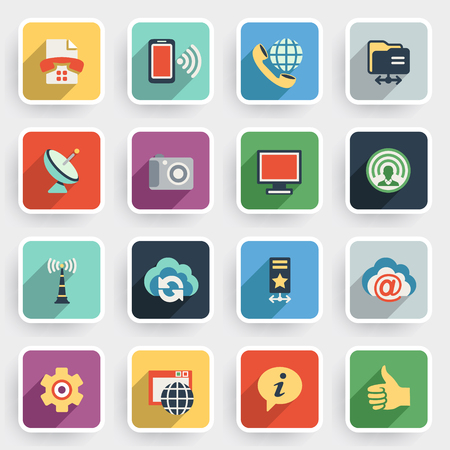 internet button: Communication modern flat icons with color buttons on gray background.
