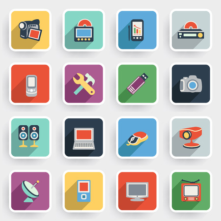 pocket pc: Electronics modern flat icons with color buttons on gray background.