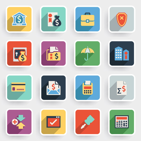 configure: Banking modern flat icons with color buttons on gray background. Illustration