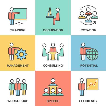 gobierno corporativo: Iconos de la gesti�n empresarial, formaci�n empresarial. El trabajo en equipo y el asesoramiento. Dise�o plano. Vectores