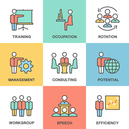 corporate governance: Icons corporate governance, business training. Teamwork and advice. Flat design.