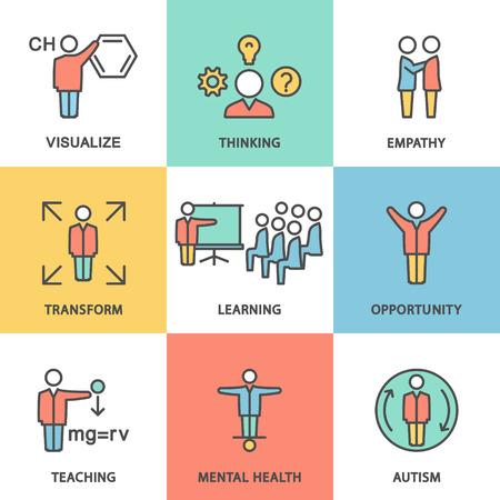 Ikony pokazujące rodzaje aktywności umysłowej wizualizacja, myśli, współczucie, transformacja, możliwości kształcenia, zdrowia psychicznego, autyzmu.