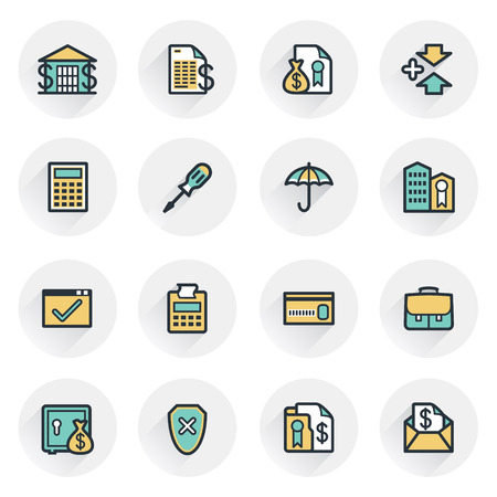 checkout line: Banking icons. Contour lines with color fills. Flat design.