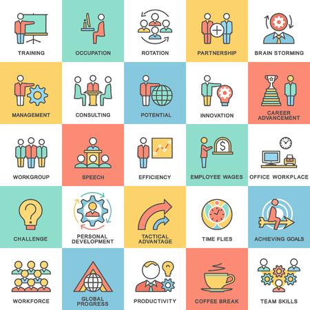 Icônes de gouvernance d'entreprise, la formation commerciale. Travail d'équipe et des conseils. Les fines lignes de contour avec des remplissages de couleur. Vecteurs