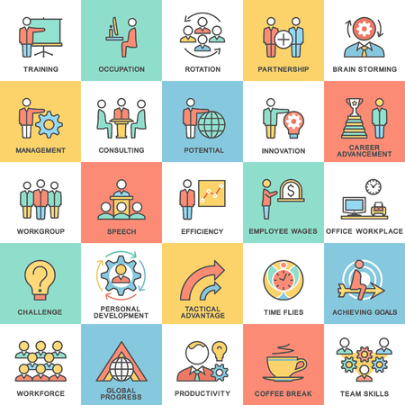 Icons corporate governance, business training. Teamwork and advice. The thin contour lines with color fills. Stock Illustratie