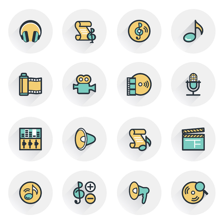 audio video: Audio video icons. Contour lines with color fills. Flat design.