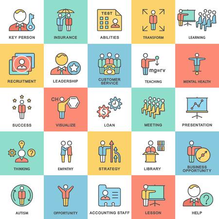 Iconos de negocio y tipos de actividad mental de la persona. Las curvas de nivel delgadas con rellenos de color.