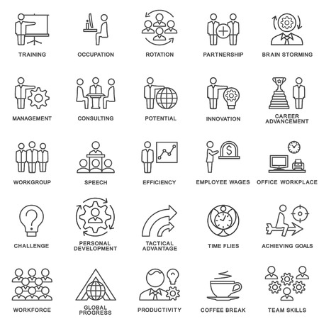 Iconos de la gestión empresarial, formación empresarial. El trabajo en equipo y el asesoramiento. Las curvas de nivel delgadas.