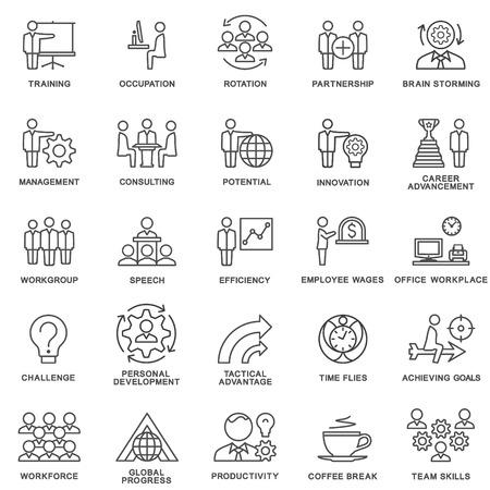 Icons Corporate Governance, Business-Training. Teamwork und Beratung. Die dünnen Konturlinien.
