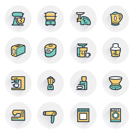 bread maker: Home appliances icons. Contour lines with color fills. Flat design.