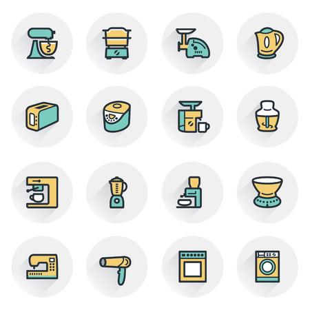 bread maker: Home appliances icons. Contour lines with color fills. Flat design.