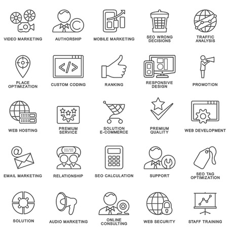 Modern SEO contour icons for web marketing optimization and customer service. Illustration
