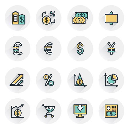bank cart: Finance icons. Contour lines with color fills. Flat design. Illustration