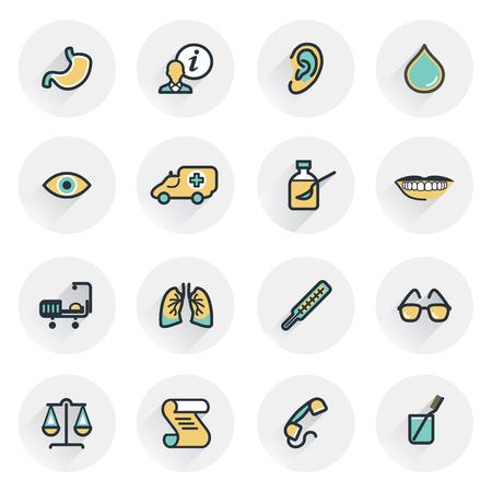 balanza de laboratorio: Iconos de la medicina. Las curvas de nivel con rellenos de color. Diseño plano.