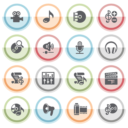 audio video: Audio video icons with color stickers. Illustration