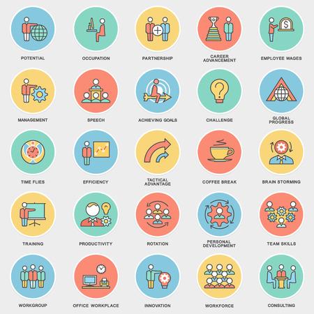gobierno corporativo: Iconos de la gesti�n empresarial, formaci�n empresarial. El trabajo en equipo y el asesoramiento. Las curvas de nivel delgadas con rellenos de color.