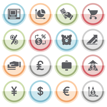 finance icons: Finance  icons with color stickers. Illustration