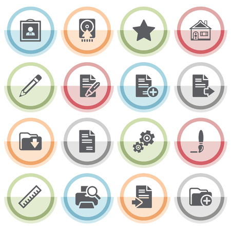 new icon: Document icons with color stickers. Illustration