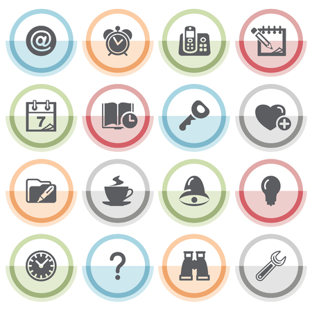 configure: Organizer icons with color stickers. Illustration
