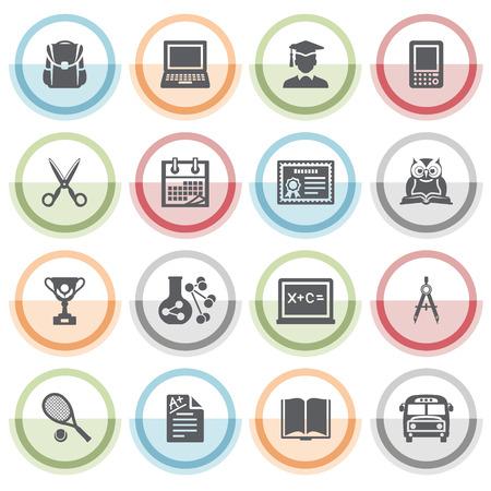 Ikony edukacji z kolorowymi naklejkami. Ilustracje wektorowe