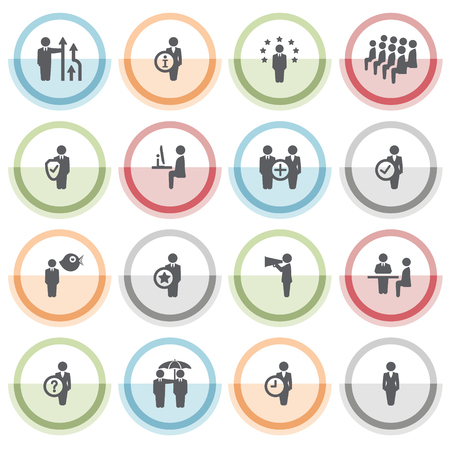 schedule system: Business and management icons with color stickers.