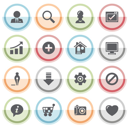 icon buttons: Basic icons with color stickers. Illustration