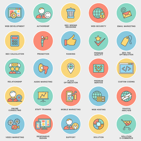 calculation: Modern SEO contour icons for web marketing optimization and customer service. The thin contour lines with color fills.