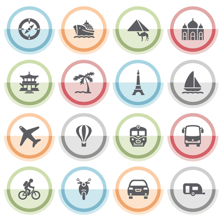 autobus: Travel icons with color stickers.