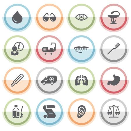 balanza de laboratorio: Iconos de la medicina con pegatinas de color.