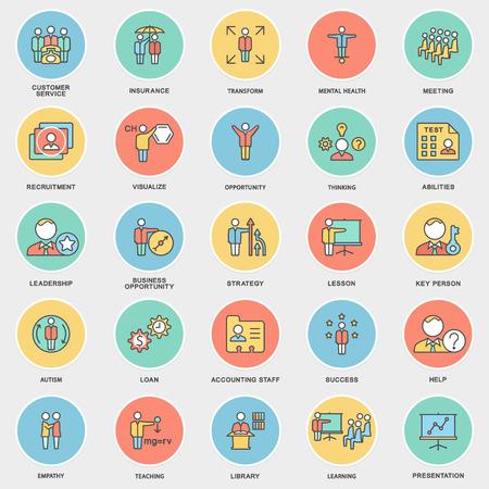 Iconos de negocio y tipos de actividad mental de la persona. Las curvas de nivel delgadas con rellenos de color. Ilustración de vector
