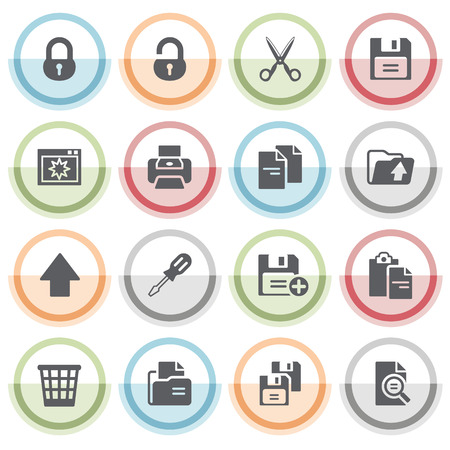 save as: Document icons with color stickers. Illustration