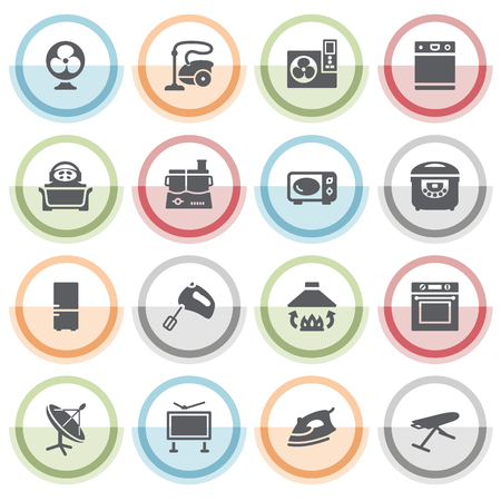 electric iron: Home appliances icons with color stickers. Illustration
