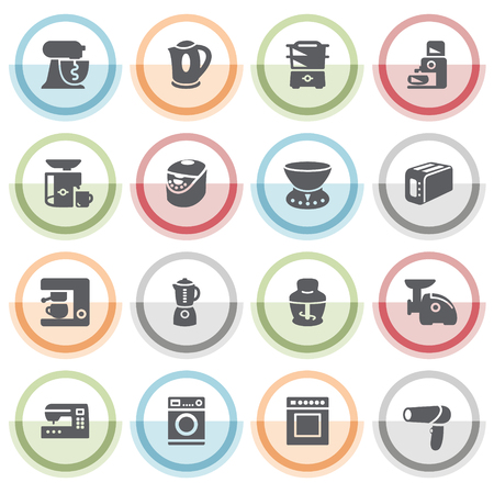 appliances icons: Home appliances icons with color stickers. Illustration