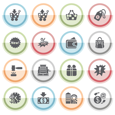 money button: Commerce icons with color stickers.