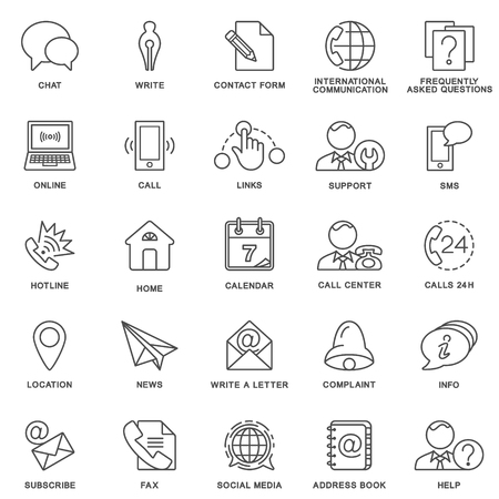 contact information: Icons contact us. Methods of communication with the contact center and information. The thin contour lines. Illustration