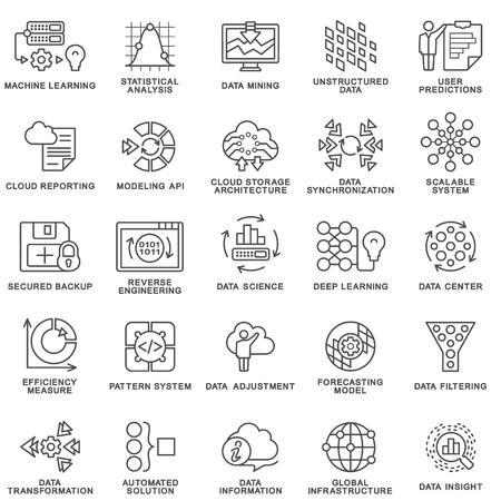 métodos de procesamiento de la base de datos de contorno iconos modernos de la tecnología de la ciencia de datos, proceso de aprendizaje automático. comprensión de datos, transformación, escalable, API de presentación, sistema de patrón. Las líneas de contorno finas.