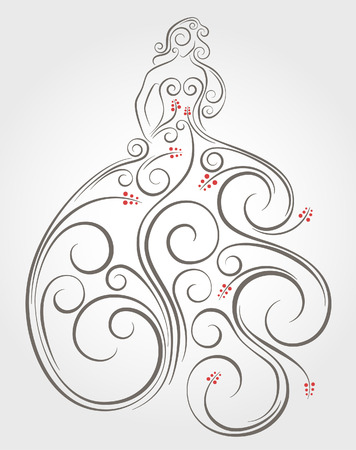 woman standing: Swirl graphic decoration of woman standing in evening dress.