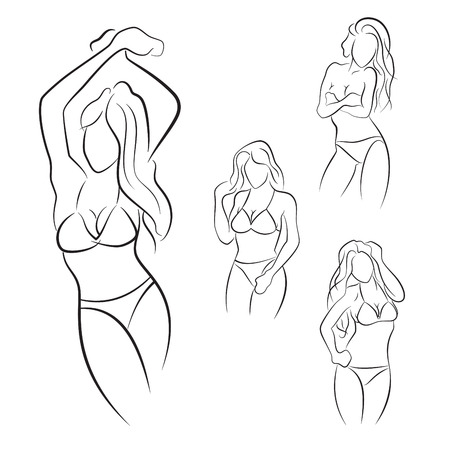 Set of hand drawn woman pose in bikini.
