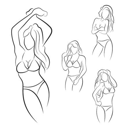 Set of hand drawn woman pose in bikini.
